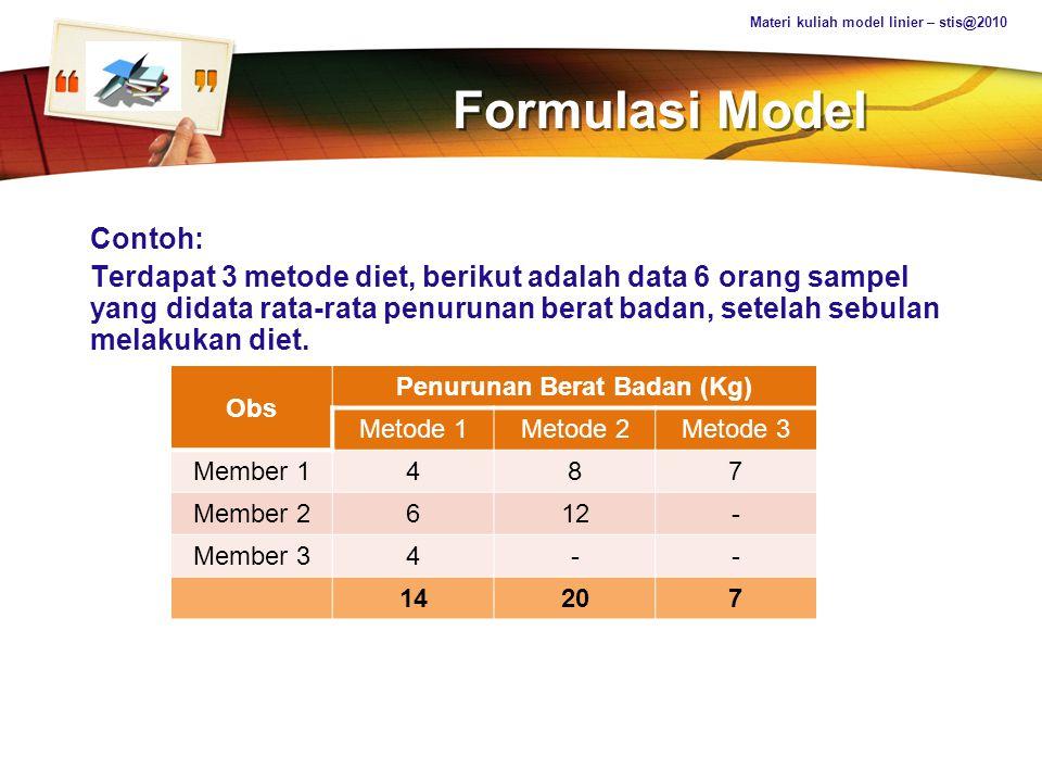 LOGO Formulasi Model Contoh pada tabel diatas, y ij adalah jumlah penurunan berat badan (dalam kg) berdasarkan metode ke-i dan pengamatan ke-j, dimana j = 1,2, …,n i Yang harus dilakukan adalah mengestimasi efek metode diet pada hasil penurunan berat badan.