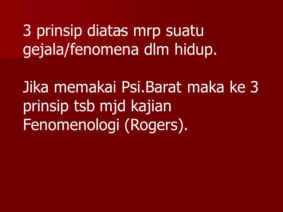 3 prinsip diatas mrp suatu gejala/fenomena dlm hidup. Jika memakai Psi.Barat maka ke 3 prinsip tsb mjd kajian Fenomenologi (Rogers).