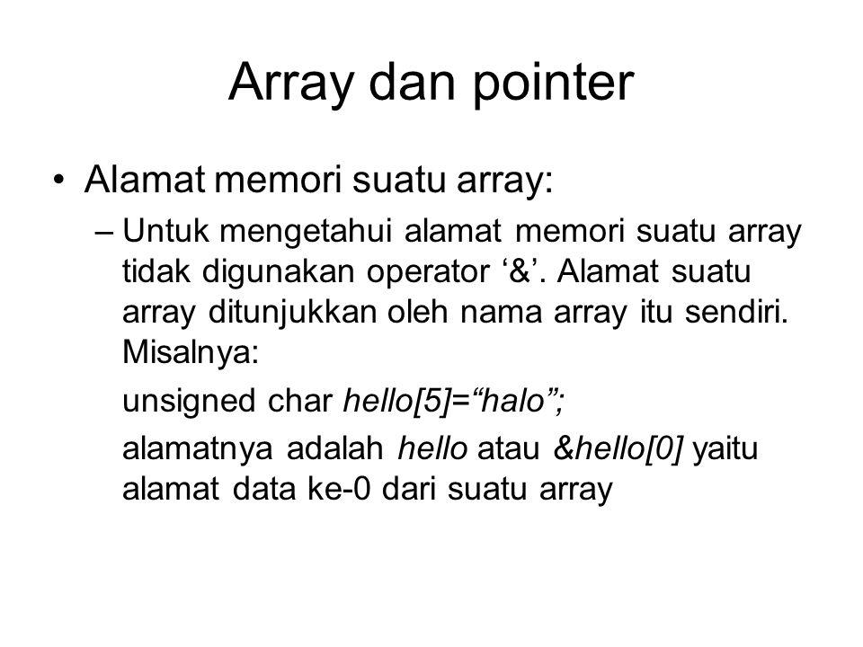 Array dan pointer Alamat memori suatu array: –Untuk mengetahui alamat memori suatu array tidak digunakan operator '&'. Alamat suatu array ditunjukkan