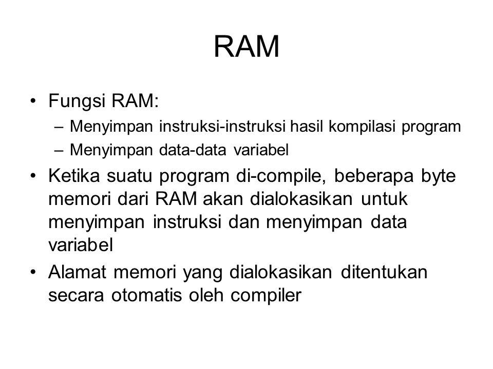 RAM Fungsi RAM: –Menyimpan instruksi-instruksi hasil kompilasi program –Menyimpan data-data variabel Ketika suatu program di-compile, beberapa byte memori dari RAM akan dialokasikan untuk menyimpan instruksi dan menyimpan data variabel Alamat memori yang dialokasikan ditentukan secara otomatis oleh compiler
