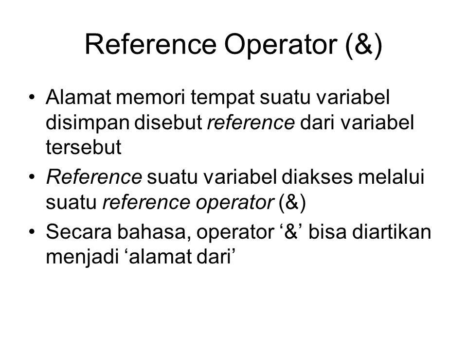 Reference Operator (&) Alamat memori tempat suatu variabel disimpan disebut reference dari variabel tersebut Reference suatu variabel diakses melalui suatu reference operator (&) Secara bahasa, operator '&' bisa diartikan menjadi 'alamat dari'