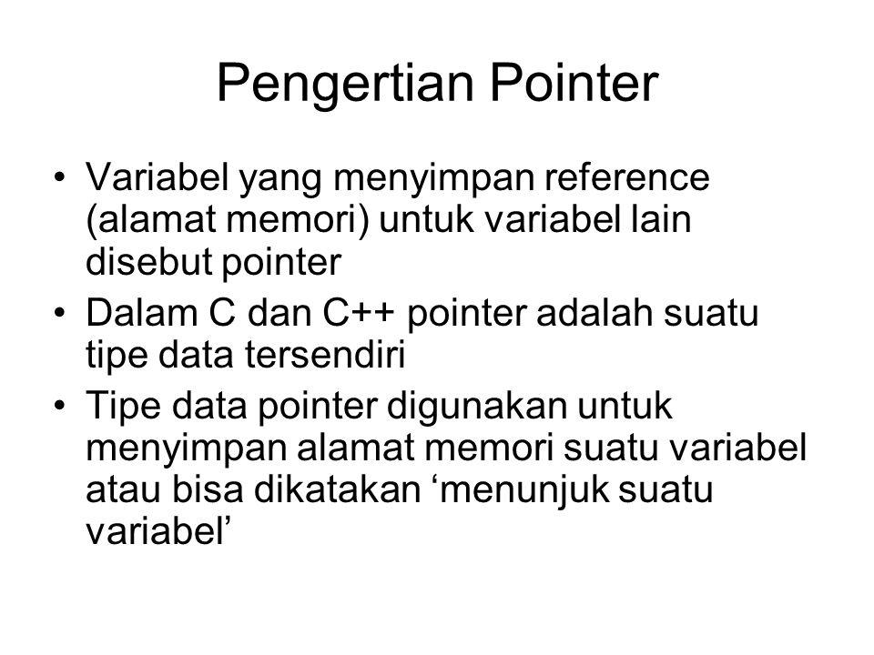 Pengertian Pointer Variabel yang menyimpan reference (alamat memori) untuk variabel lain disebut pointer Dalam C dan C++ pointer adalah suatu tipe data tersendiri Tipe data pointer digunakan untuk menyimpan alamat memori suatu variabel atau bisa dikatakan 'menunjuk suatu variabel'