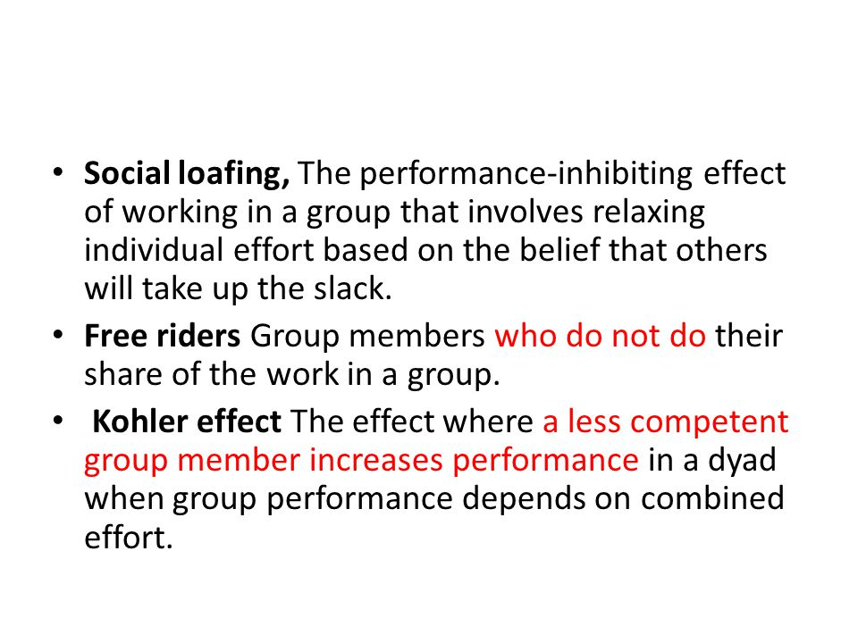 Social loafing, The performance-inhibiting effect of working in a group that involves relaxing individual effort based on the belief that others will