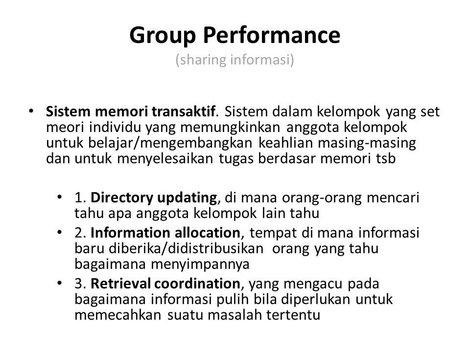 Group Performance (sharing informasi) Sistem memori transaktif. Sistem dalam kelompok yang set meori individu yang memungkinkan anggota kelompok untuk