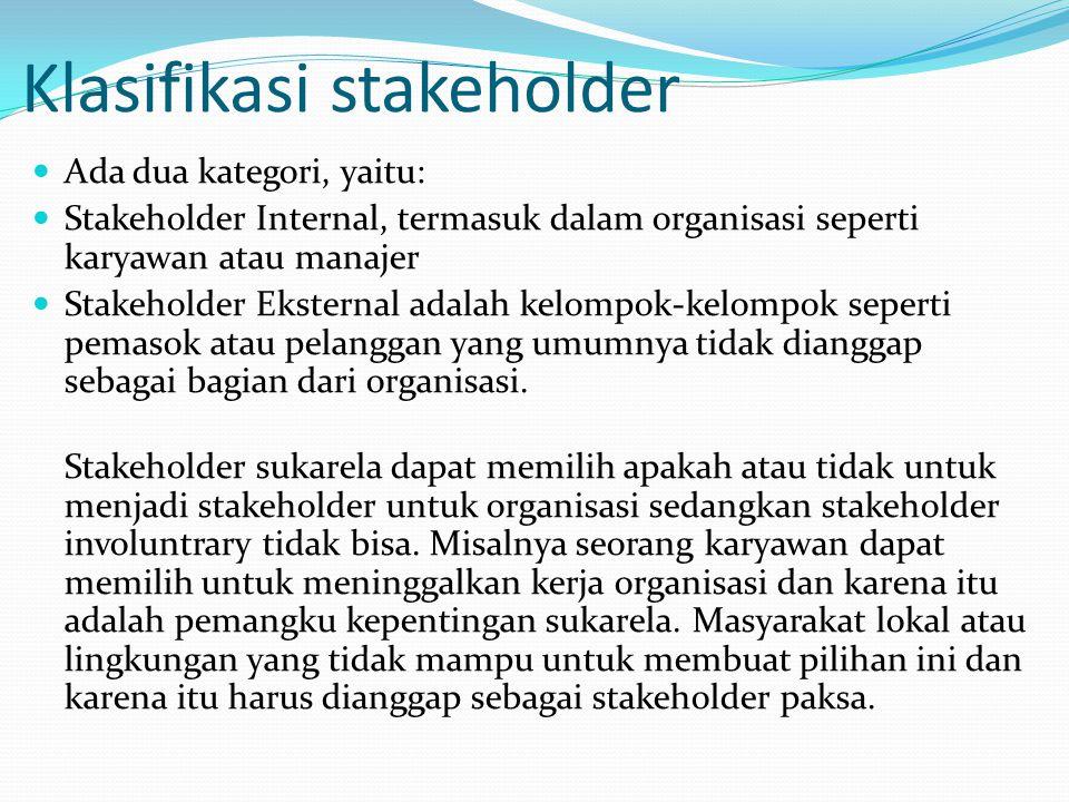 Stakeholding Adalah Pertimbangan semua kelompok pemangku kepentingan secara terpisah. Misalnya satu orang mungkin menjadi pelanggan dari suatu organis