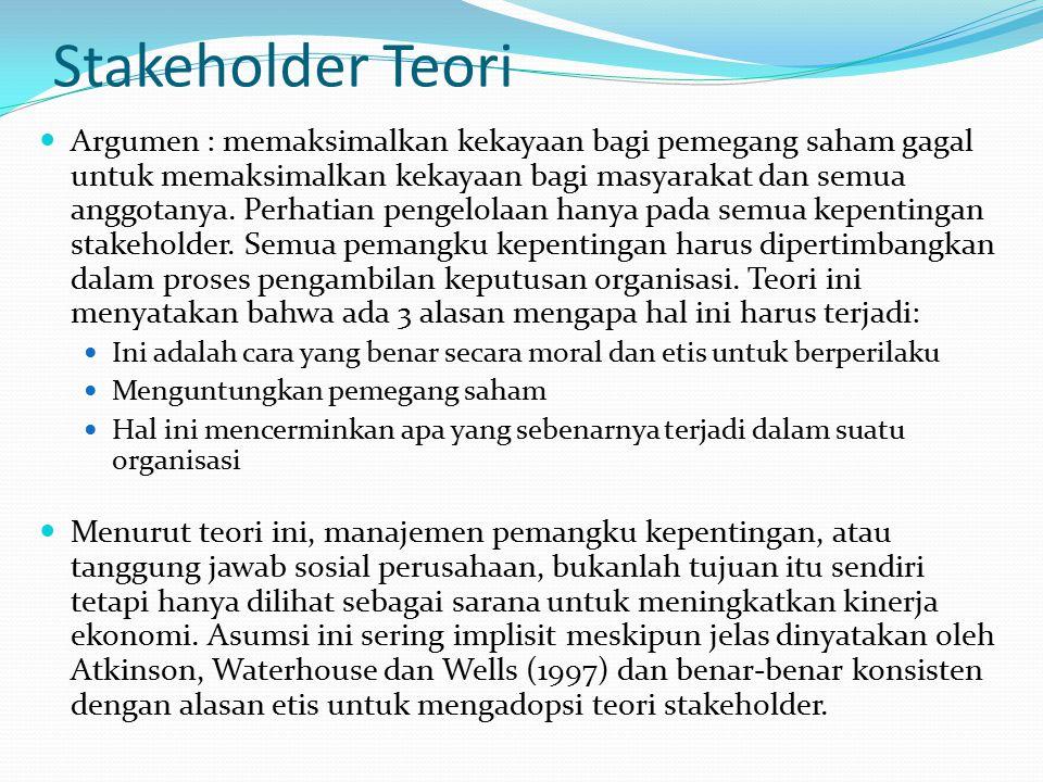 Klasifikasi stakeholder Ada dua kategori, yaitu: Stakeholder Internal, termasuk dalam organisasi seperti karyawan atau manajer Stakeholder Eksternal a