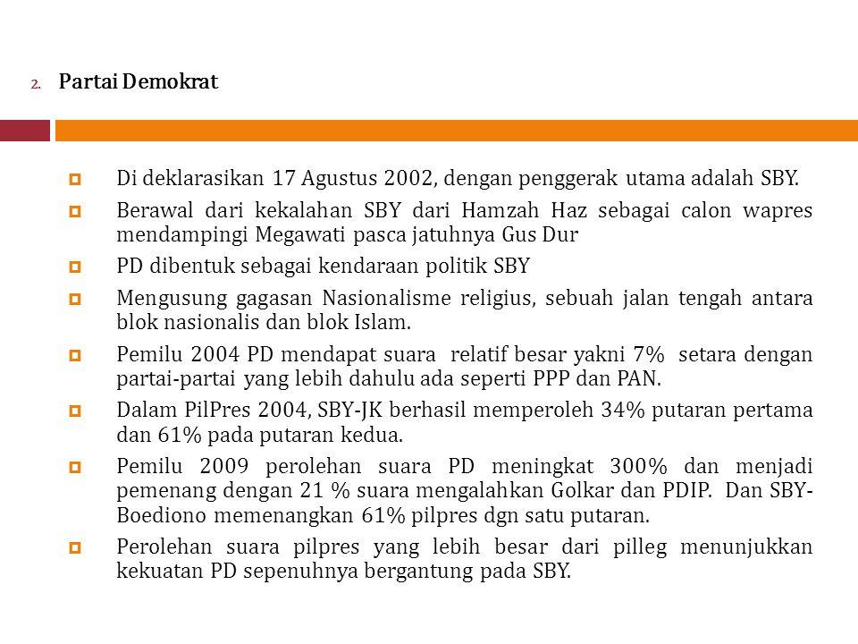 2.Partai Demokrat  Di deklarasikan 17 Agustus 2002, dengan penggerak utama adalah SBY.