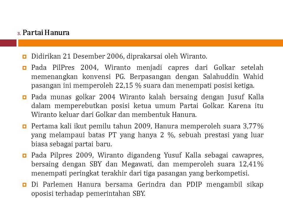3.Partai Hanura  Didirikan 21 Desember 2006, diprakarsai oleh Wiranto.
