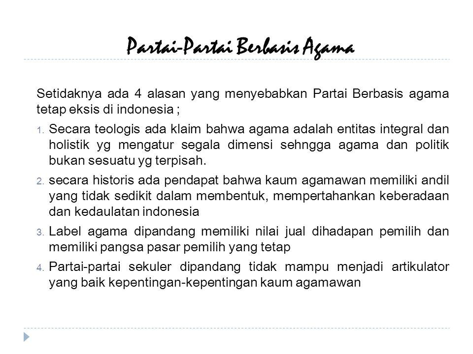 Partai-Partai Berbasis Agama Setidaknya ada 4 alasan yang menyebabkan Partai Berbasis agama tetap eksis di indonesia ; 1.