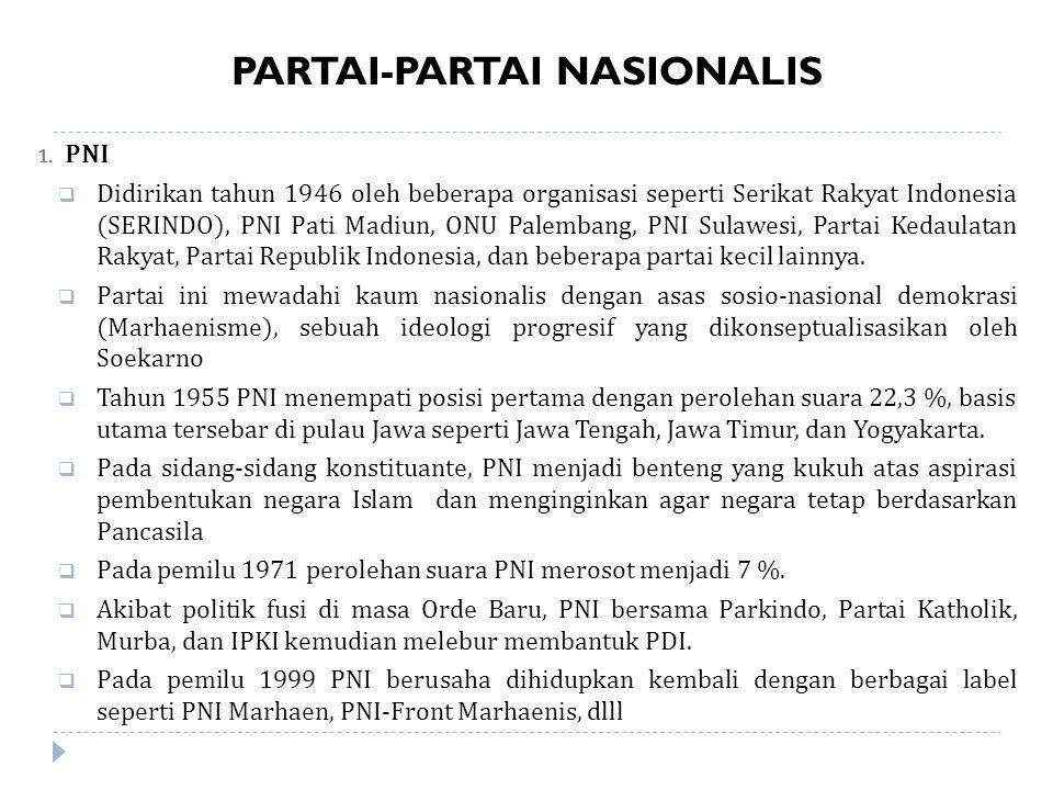 PARTAI-PARTAI NASIONALIS 1.