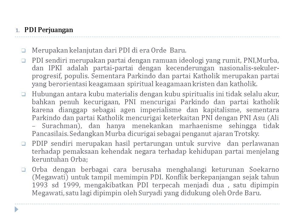 1.PDI Perjuangan  Merupakan kelanjutan dari PDI di era Orde Baru.