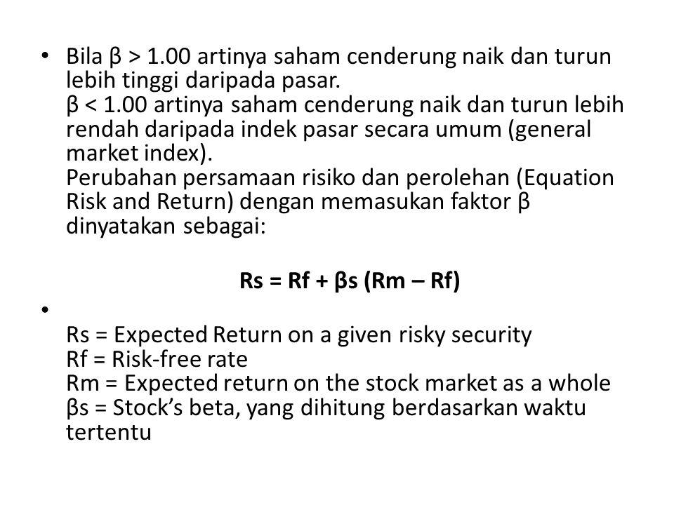 Bila β > 1.00 artinya saham cenderung naik dan turun lebih tinggi daripada pasar.