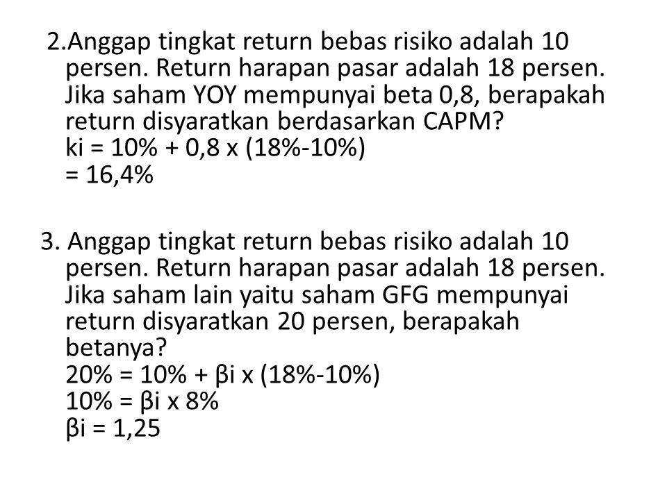2.Anggap tingkat return bebas risiko adalah 10 persen.