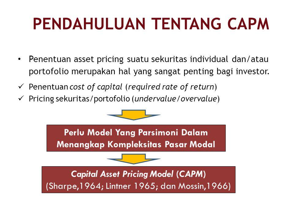 PENDAHULUAN TENTANG CAPM Penentuan asset pricing suatu sekuritas individual dan/atau portofolio merupakan hal yang sangat penting bagi investor.