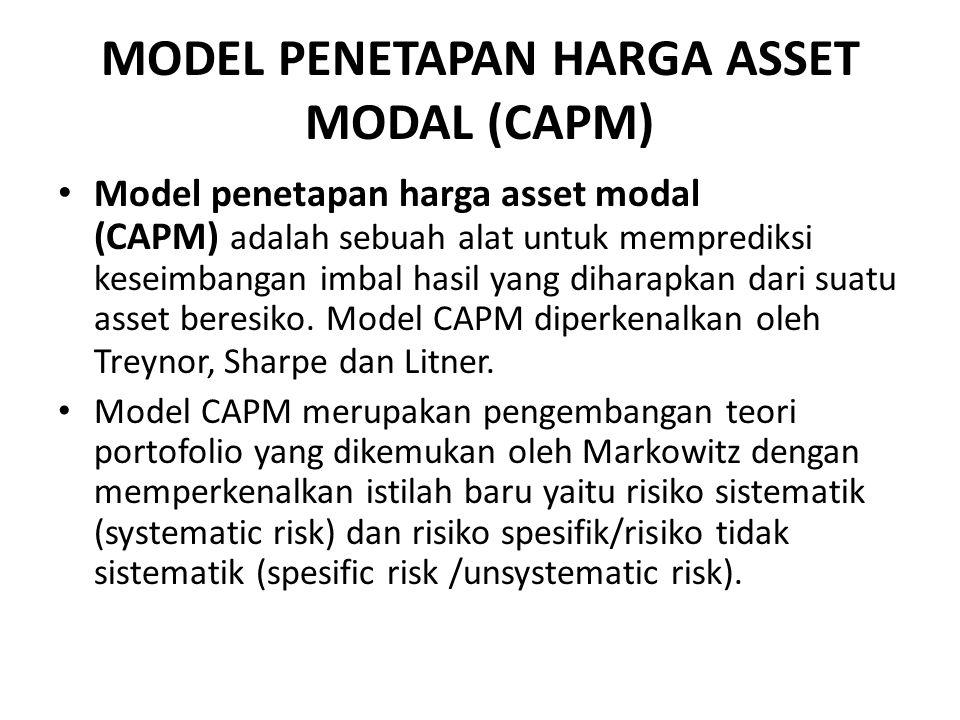 MODEL PENETAPAN HARGA ASSET MODAL (CAPM) Model penetapan harga asset modal (CAPM) adalah sebuah alat untuk memprediksi keseimbangan imbal hasil yang diharapkan dari suatu asset beresiko.