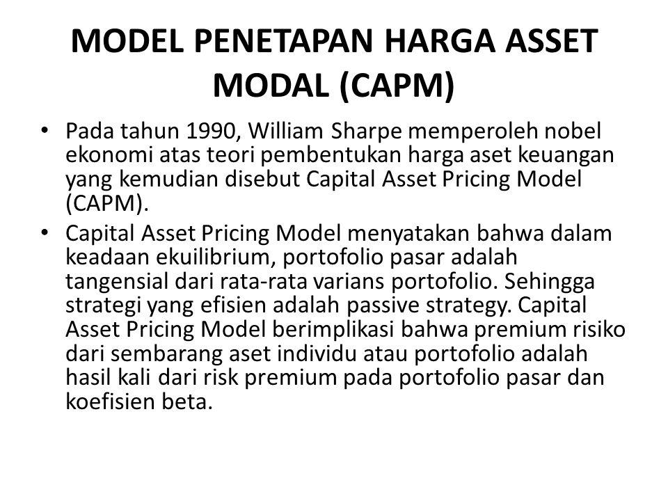 MODEL PENETAPAN HARGA ASSET MODAL (CAPM) Pada tahun 1990, William Sharpe memperoleh nobel ekonomi atas teori pembentukan harga aset keuangan yang kemudian disebut Capital Asset Pricing Model (CAPM).