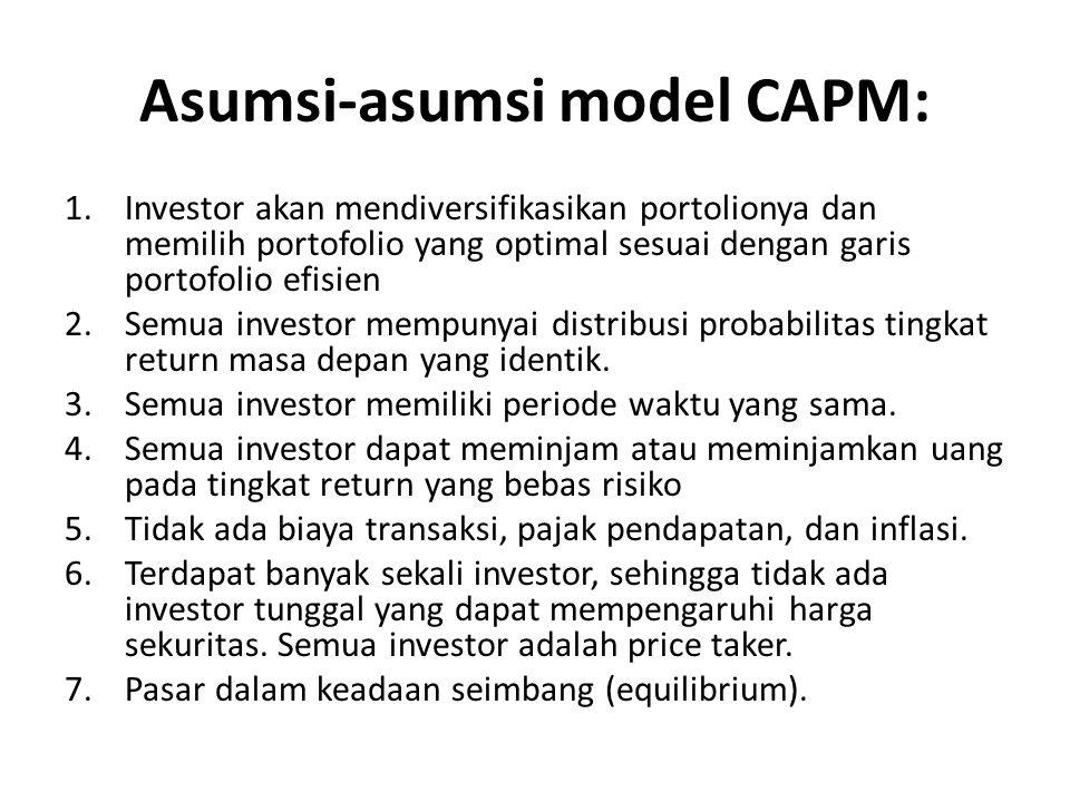 Asumsi-asumsi model CAPM: 1.Investor akan mendiversifikasikan portolionya dan memilih portofolio yang optimal sesuai dengan garis portofolio efisien 2.Semua investor mempunyai distribusi probabilitas tingkat return masa depan yang identik.