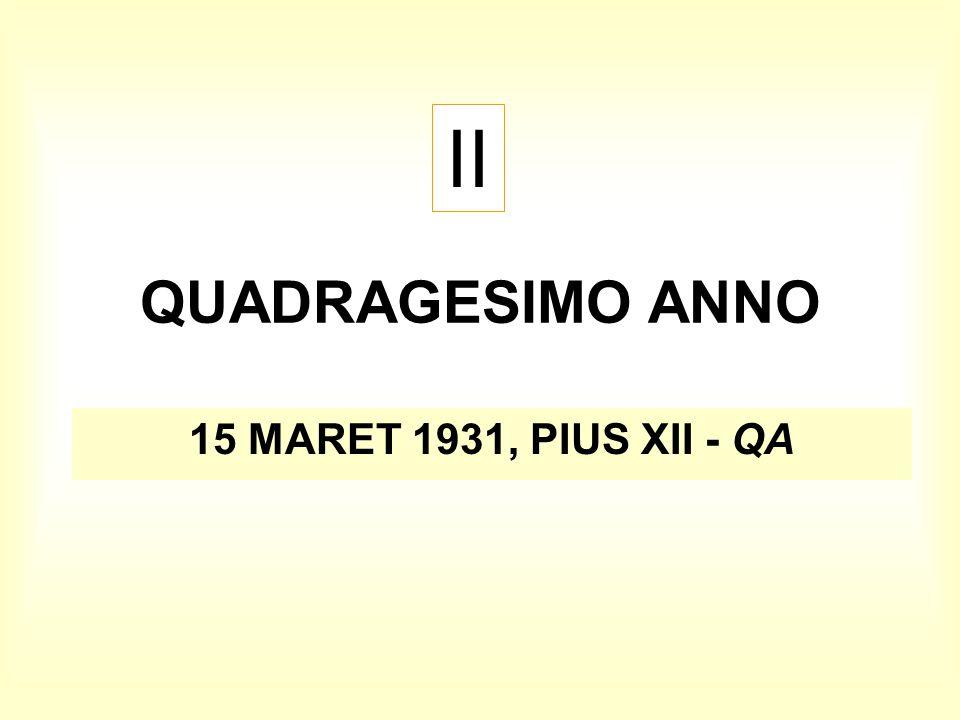 QUADRAGESIMO ANNO 15 MARET 1931, PIUS XII - QA II