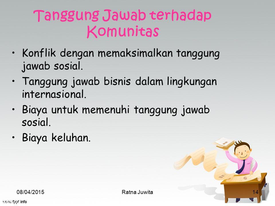 4/8/2015 Ratna Juwita14 Tanggung Jawab terhadap Komunitas Konflik dengan memaksimalkan tanggung jawab sosial. Tanggung jawab bisnis dalam lingkungan i
