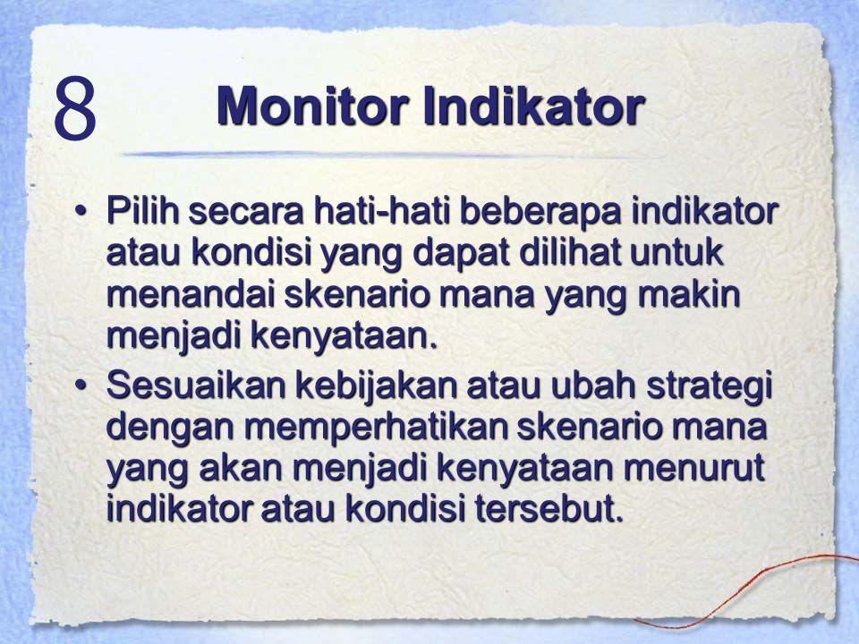 Monitor Indikator Pilih secara hati-hati beberapa indikator atau kondisi yang dapat dilihat untuk menandai skenario mana yang makin menjadi kenyataan.