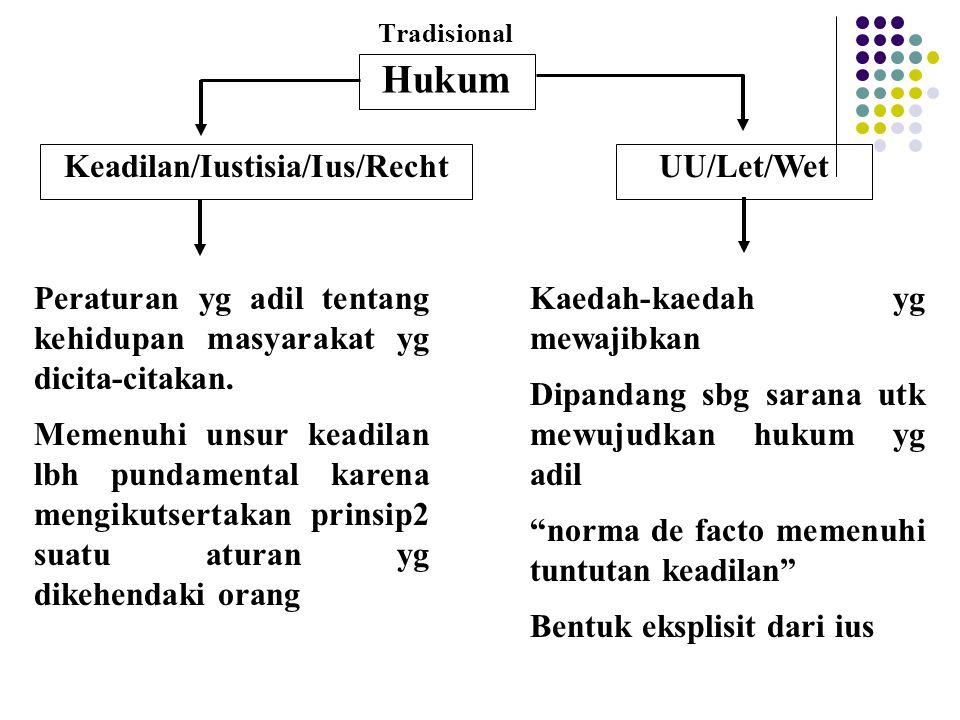 Tradisional Hukum Keadilan/Iustisia/Ius/RechtUU/Let/Wet Peraturan yg adil tentang kehidupan masyarakat yg dicita-citakan. Memenuhi unsur keadilan lbh