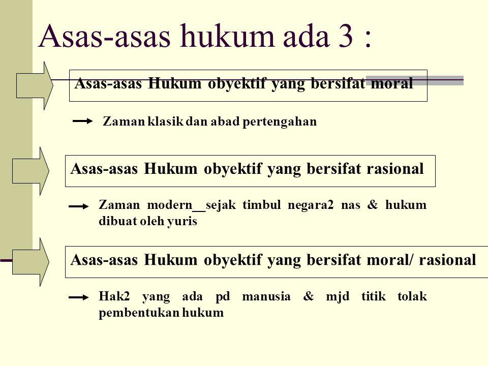 Asas-asas hukum ada 3 : Asas-asas Hukum obyektif yang bersifat moral Zaman klasik dan abad pertengahan Asas-asas Hukum obyektif yang bersifat rasional
