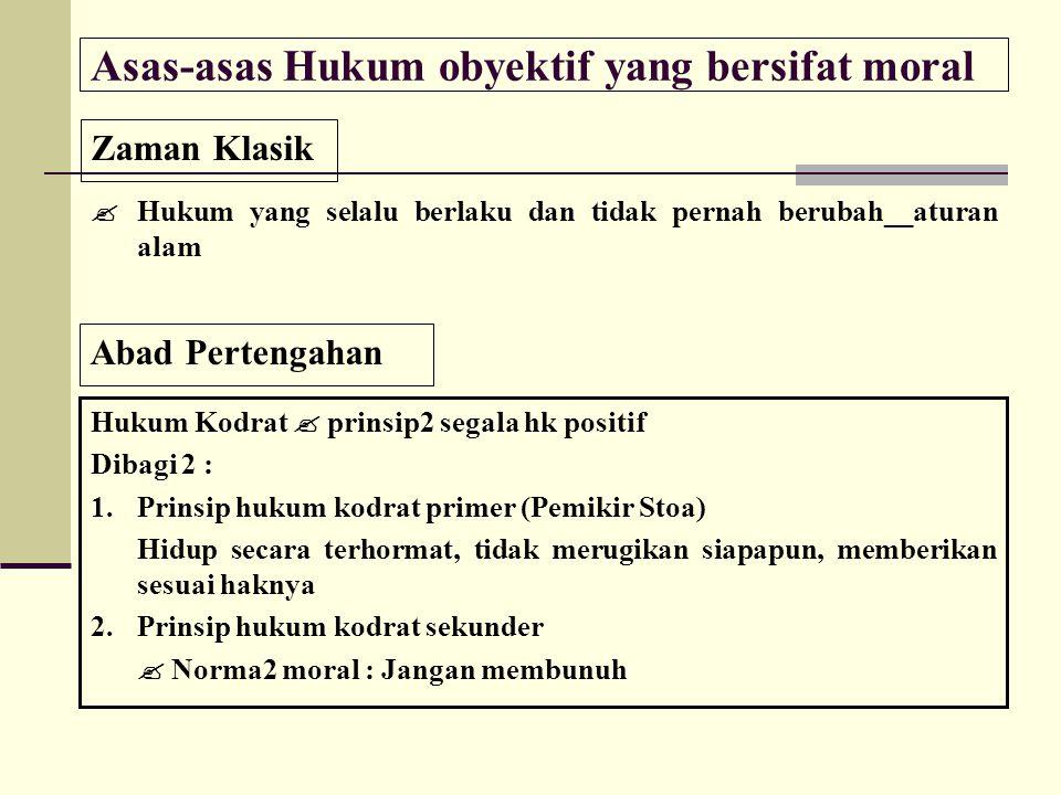  Hukum Kodrat : prinsip2 dasar bagi kehidupan sosial & individual 1.