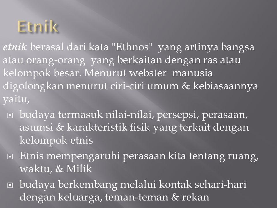 etnik berasal dari kata Ethnos yang artinya bangsa atau orang-orang yang berkaitan dengan ras atau kelompok besar.
