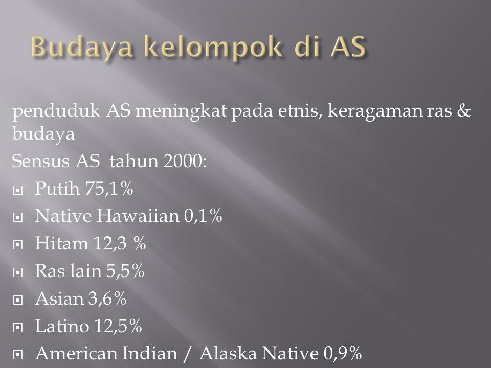 penduduk AS meningkat pada etnis, keragaman ras & budaya Sensus AS tahun 2000:  Putih 75,1%  Native Hawaiian 0,1%  Hitam 12,3 %  Ras lain 5,5%  Asian 3,6%  Latino 12,5%  American Indian / Alaska Native 0,9%