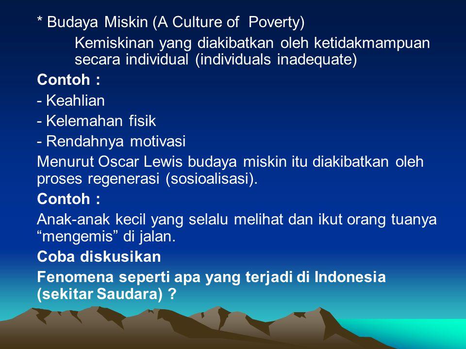 * Budaya Miskin (A Culture of Poverty) Kemiskinan yang diakibatkan oleh ketidakmampuan secara individual (individuals inadequate) Contoh : - Keahlian