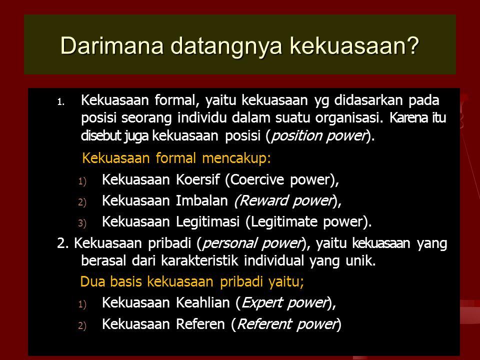 Darimana datangnya kekuasaan? 1. Kekuasaan formal, yaitu kekuasaan yg didasarkan pada posisi seorang individu dalam suatu organisasi. Karena itu diseb