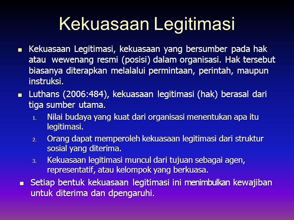 Kekuasaan Legitimasi Kekuasaan Legitimasi, kekuasaan yang bersumber pada hak atau wewenang resmi (posisi) dalam organisasi.
