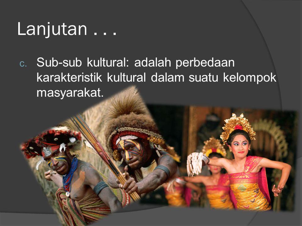 Lanjutan... c. Sub-sub kultural: adalah perbedaan karakteristik kultural dalam suatu kelompok masyarakat.