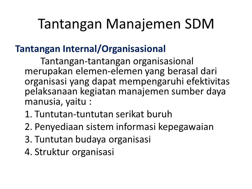 Tantangan Internal/Organisasional Tantangan-tantangan organisasional merupakan elemen-elemen yang berasal dari organisasi yang dapat mempengaruhi efek