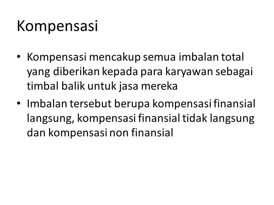 Kompensasi Kompensasi mencakup semua imbalan total yang diberikan kepada para karyawan sebagai timbal balik untuk jasa mereka Imbalan tersebut berupa