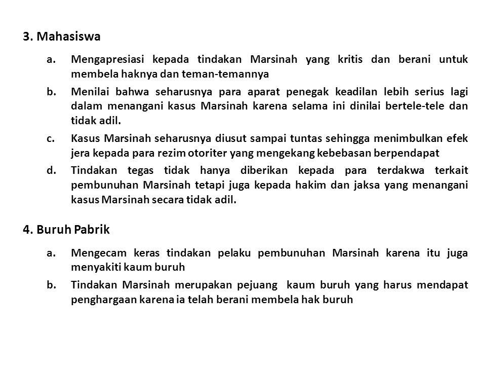 3. Mahasiswa a.Mengapresiasi kepada tindakan Marsinah yang kritis dan berani untuk membela haknya dan teman-temannya b.Menilai bahwa seharusnya para a