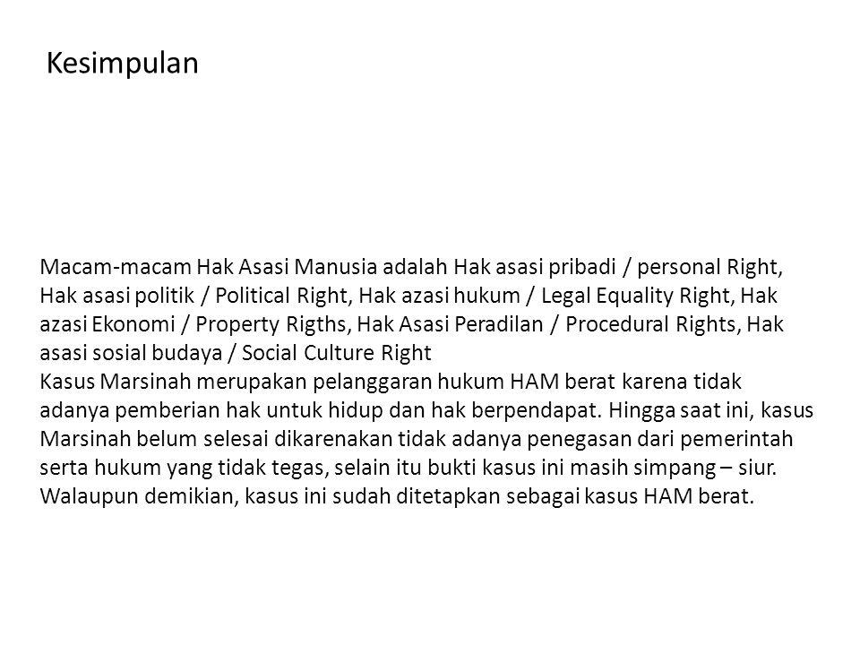 Kesimpulan Macam-macam Hak Asasi Manusia adalah Hak asasi pribadi / personal Right, Hak asasi politik / Political Right, Hak azasi hukum / Legal Equal