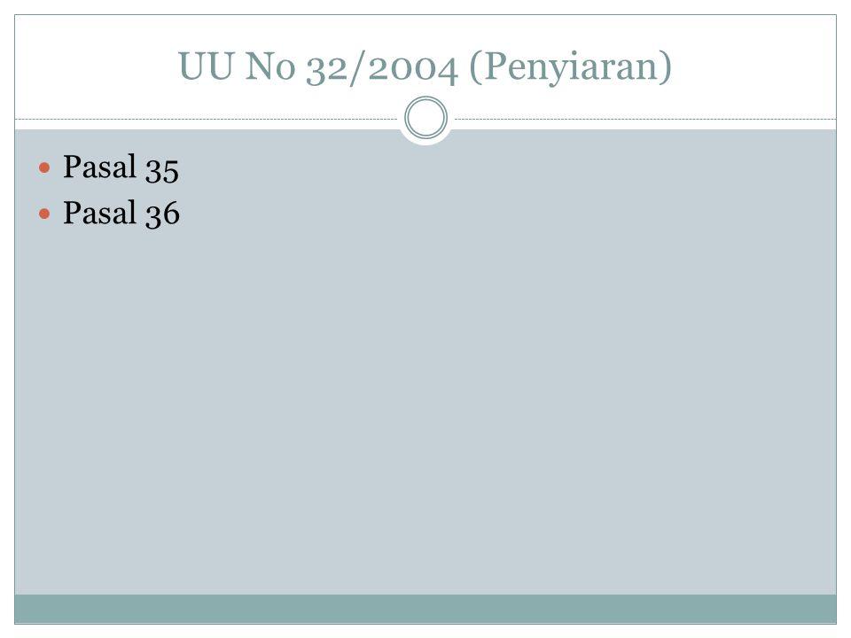 UU No 32/2004 (Penyiaran) Pasal 35 Pasal 36