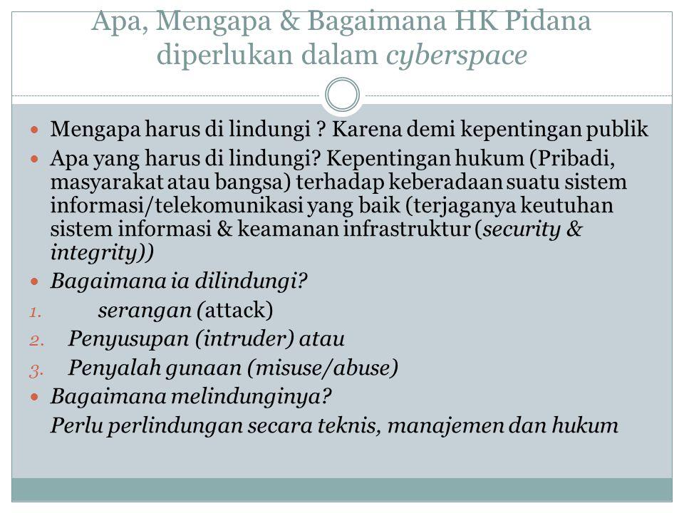 Apa, Mengapa & Bagaimana HK Pidana diperlukan dalam cyberspace Mengapa harus di lindungi ? Karena demi kepentingan publik Apa yang harus di lindungi?