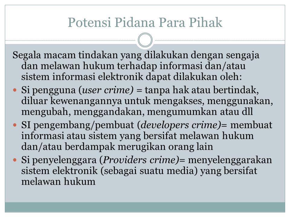 Potensi Pidana Para Pihak Segala macam tindakan yang dilakukan dengan sengaja dan melawan hukum terhadap informasi dan/atau sistem informasi elektroni