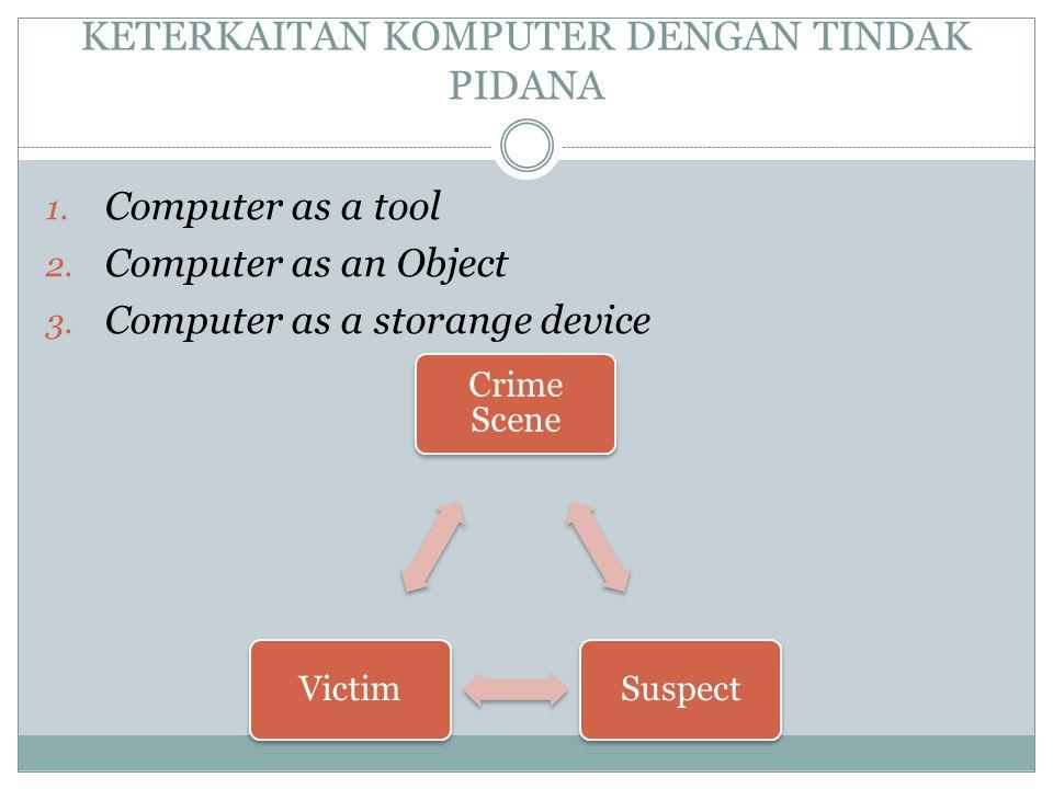 KETERKAITAN KOMPUTER DENGAN TINDAK PIDANA 1. Computer as a tool 2. Computer as an Object 3. Computer as a storange device Crime Scene SuspectVictim