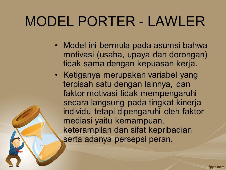 MODEL PORTER - LAWLER Model ini bermula pada asumsi bahwa motivasi (usaha, upaya dan dorongan) tidak sama dengan kepuasan kerja. Ketiganya merupakan v