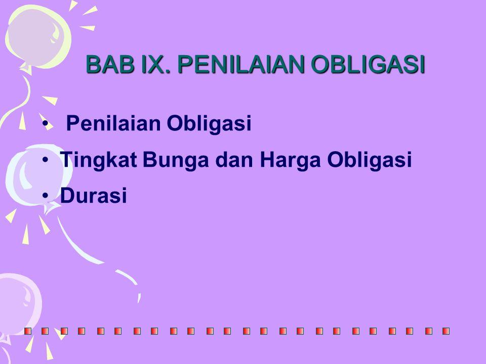 BAB IX. PENILAIAN OBLIGASI Penilaian Obligasi Tingkat Bunga dan Harga Obligasi Durasi