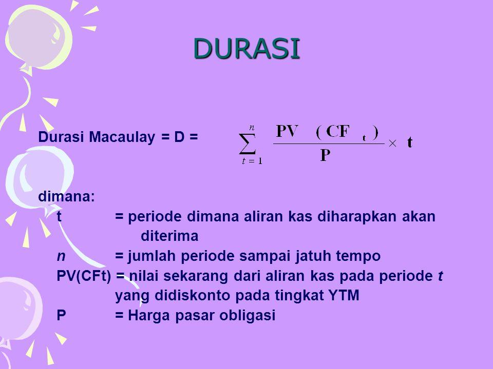 DURASI Durasi Macaulay = D = dimana: t = periode dimana aliran kas diharapkan akan diterima n= jumlah periode sampai jatuh tempo PV(CFt) = nilai sekar