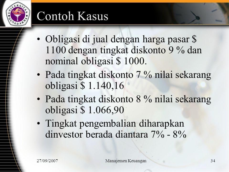 27/09/2007Manajemen Keuangan35 Lanjutan Untuk menentukan tingkat pengembalian yang diharapkan, lakukan interpolasi Diskonto Nilai Perbedaan Nilai 7% $ 1.140,16 $ 40,16 k b $ 1.100,00 $ 73,26 8% $ 1.066,90 Kb = 7 % + ( $40,16/$73,26).