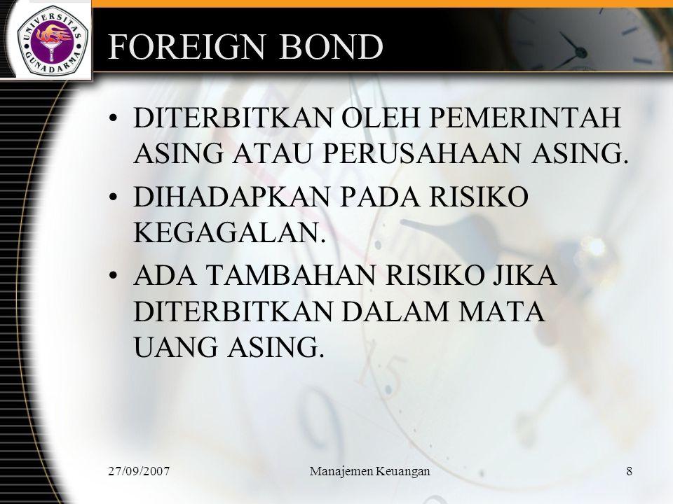 27/09/2007Manajemen Keuangan9 KARAKTERISTIK UTAMA OBLIGASI.