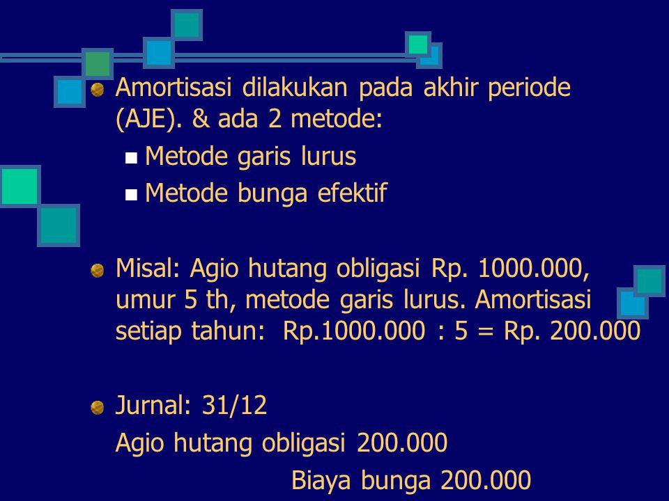Amortisasi dilakukan pada akhir periode (AJE). & ada 2 metode: Metode garis lurus Metode bunga efektif Misal: Agio hutang obligasi Rp. 1000.000, umur