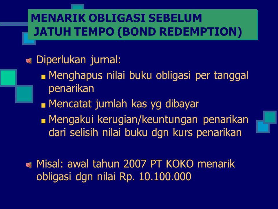 MENARIK OBLIGASI SEBELUM JATUH TEMPO (BOND REDEMPTION) Diperlukan jurnal: Menghapus nilai buku obligasi per tanggal penarikan Mencatat jumlah kas yg d