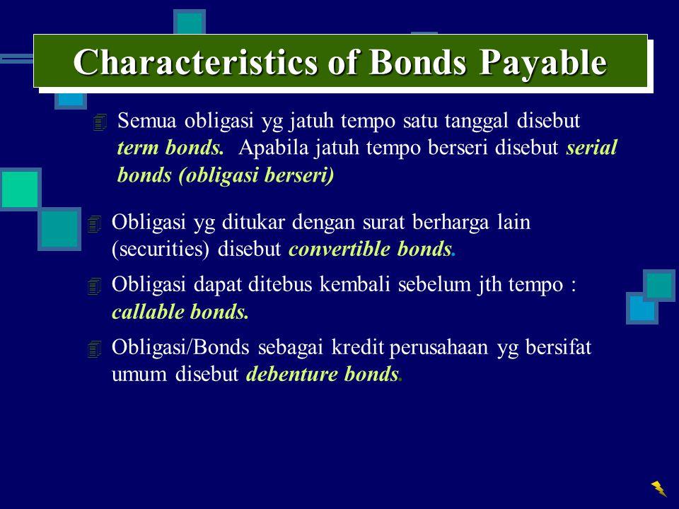 Characteristics of Bonds Payable 4 Semua obligasi yg jatuh tempo satu tanggal disebut term bonds. Apabila jatuh tempo berseri disebut serial bonds (ob