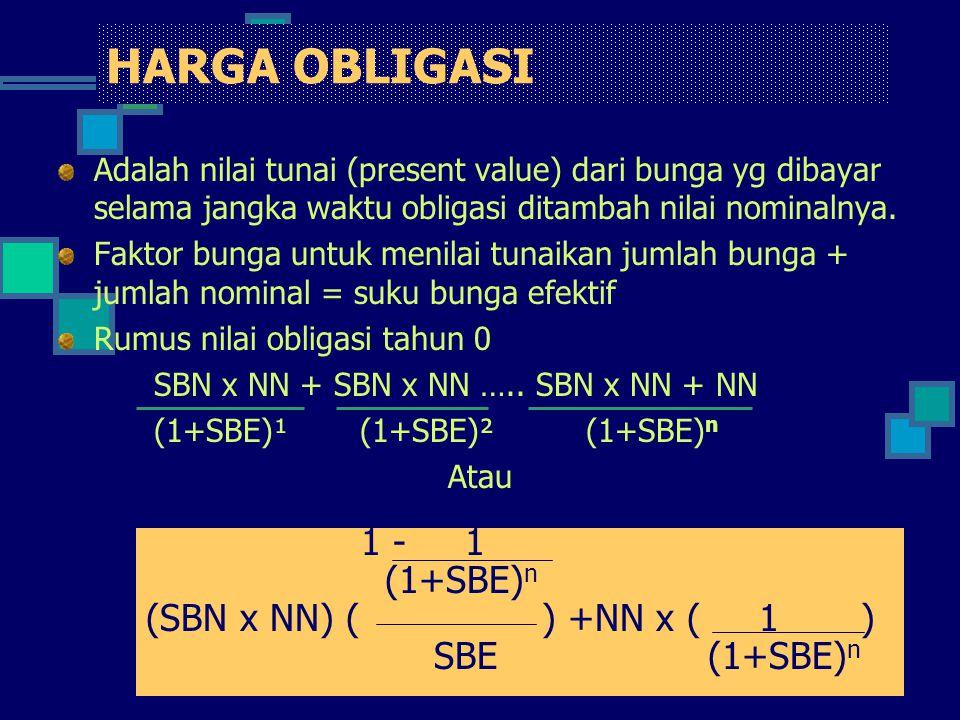 HARGA OBLIGASI Adalah nilai tunai (present value) dari bunga yg dibayar selama jangka waktu obligasi ditambah nilai nominalnya. Faktor bunga untuk men